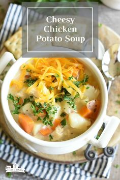 Cheesy Chicken Potato Soup, or chowder, is hearty and can be made on the stovetop, or in the pressure cooker! #littledairyontheprairie #soup #chowder #potatosoup #chickensoup #cheesesoup #pressurecooker #maindish #chicken #easyrecipe #creamysoup #instantpot Chicken Potato Soup, Cheesy Chicken, Borscht Soup, Soup Recipes, Cooking Recipes, Cheese Soup, Chowder, Instant Pot, Main Dishes