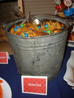 Farm party food idea. Cute way to serve chex mix = chicken feed!