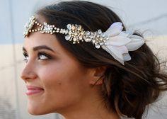 Embellished hairband with crystals rhinestones fabric flowers