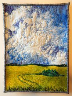 Canola and Grove: 15 1/2 x 21 inches. $450, Saskatchewan Craft Council artist Cindy Hoppe. Art Quilting, Quilt Art, Quilting Ideas, Landscape Art Quilts, Fibre Art, Small Quilts, Textile Art, Felting, Fabric Crafts