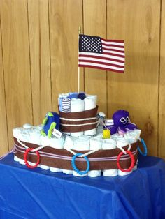 Diaper boat cake. Made for my sister's Ahoy! It's a boy! shower.