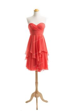 Short Coral Bridesmaid Dress Short Chiffon Dresses Prom Dress Evening Dress Dress Formal Dress Custom Made on Etsy, $77.00