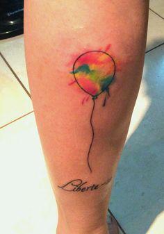 "Tattoo ""Free yourself"" watercolor ballon"