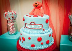 red and teal elmo party