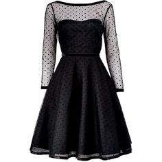 Marc By Marc Jacobs Polka Dot Tulle Dress (9.510 NOK) ❤ liked on Polyvore featuring dresses, black, slim fit dress, black full skirt dress, polka dot dress, black tulle dress and kohl dresses