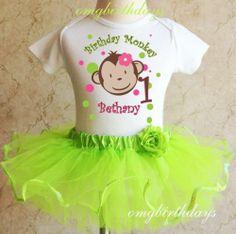 1st 2nd Birthday Girl Mod Monkey Green Tutu & Personalized Shirt Outfit Set 1 2