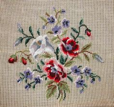 LD 1903 Vintage Floral Bouquet Petitpoint Preworked Needlepoint Canvas