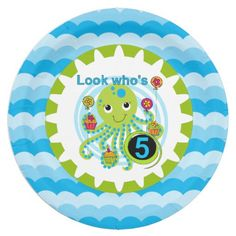 Cupcake Octopus 5th birthday party paper plates features a green and blue smiling octopus holding birthday cupcakes and balloons, text that reads Look Who's 5, and a wide background border of blue ocean waves! These cute octopus 5th birthday paper plates are perfect for the birthday party whether a big celebration or a small get together!
