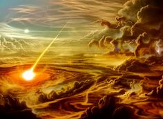 GENETIC LIGHT A COMET CRASHING INTO JUPITERS ATMOSPHERE airbrush on canvas. stewpot1a@aol.com
