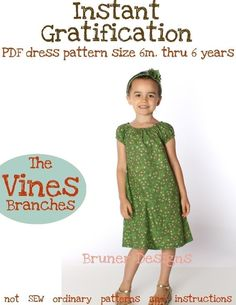 Instant Gratification dress PATTERN 6mo. thru 6 years - Pattern and Instructions pdf - or printed option - YOU can make this easy pattern -