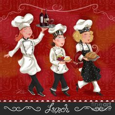 Lady Chefs - Lunch Mixed Media