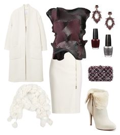 """Party in the snow..."" by dtlpinn on Polyvore featuring Jennifer Lopez, MaxMara, MANGO, BaubleBar, Rodo and OPI"