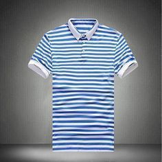 Men Fashion Clothes, Striped Polo Shirt, Slim Fit Polo Plus Size M-5XL