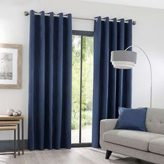 Luna Brushed Navy Blackout Eyelet Curtains In regards to living space decoration suggestions, quite a Navy Curtains Bedroom, Blue Curtains Living Room, Navy Blue Curtains, Navy Bedrooms, Blue Living Room Decor, Modern Curtains, Living Room Designs, Curtains Dunelm, Navy Blue And Grey Living Room