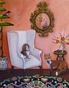 Catherine Nolin Art Studio: The Fox , The Hound and Magpie ~ New Painting Cat Sitter, Room Of One's Own, The Fox And The Hound, Painting Patterns, Cute Illustration, Lovers Art, Home Art, Art Photography, Magpie
