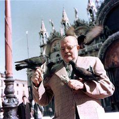 Ernest Hemingway with pigeons, Piazza San Marco (St. Credit Line : Ernest Hemingway Collection. Ernest Hemingway, Hugh Laurie, Kennedy Jr, Phil Collins, Ozzy Osbourne, Chuck Norris, Marlon Brando, Keith Richards, Janet Jackson