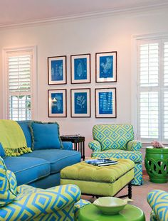 Cute blue and green living room