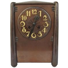 Beautiful Amsterdam School copper mantle clock, 1920's Art Deco   From a unique collection of antique and modern clocks at http://www.1stdibs.com/furniture/more-furniture-collectibles/clocks/