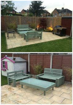#Garden, #GardenSet, #PalletLounge, #RepurposedPallet, #Terrace I have been new to the pallet arena but over the last few months, I have slowly started to get better at my designs. Here we have two benches made from recycled pallets and a disco table with frosted glass top. In the table, we have strip lights
