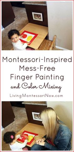 Ideas and resources for Montessori-inspired no-mess finger painting and color mixing for toddlers and preschoolers. Post includes embedded YouTube video and Montessori Monday permanent collection.
