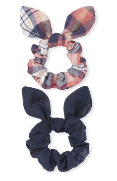 Navy Plaid Elastic Scrunchies