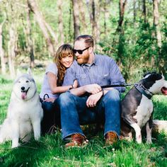 Unique engagement shoot with a too-cool couple  their furry family. {Ampersand Wedding Photography}