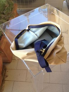 Nude and navy leather pochette - inside!
