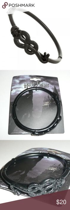Harry Potter Deatheater Dark Mark Black Bracelet This is for 1 Harry Potter themed bracelet.  This bracelet is black and made of metal, it features the Dark Mark on it.  It opens up via a hinge.    Officially licensed, Made by Bioworld.    Intended for Ages 14 and Up.  Makes a great gift!  CONDITION - New  Check out my Posh for more Harry Potter accessories! Bioworld Jewelry Bracelets