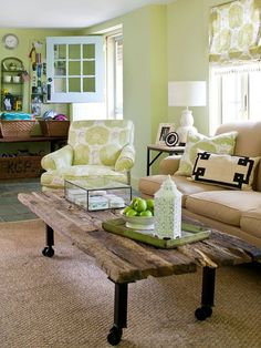 Casual furniture makes this country living room feel cozy and comfortable. More classic country rooms: http://www.bhg.com/decorating/decorating-style/country/classic-country-rooms/?socsrc=bhgpin062213woodtable=1