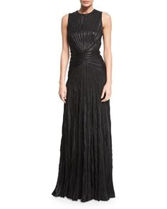 Larisa+Sleeveless+Plisse+Evening+Gown,+Black+by+Ralph+Lauren+Collection+at+Neiman+Marcus.