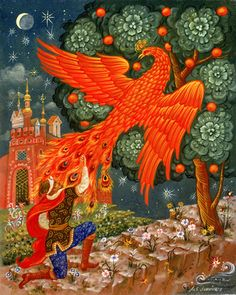 "In Russian Folk Art, the Firebird is described as a large bird with majestic plumage that glows brightly like a bonfire.  In later iconography, the form of the Firebird is usually that of a smallish fire-colored peacock with a crest on its head and tail feathers of glowing ""eyes"".  The story of the Firebird inspired Sergei Diaghilev of Ballet Russe to commission composer Igor Stravinsky to create the large-scale ballet score known as The Firebird,  beautiful and haunting music."