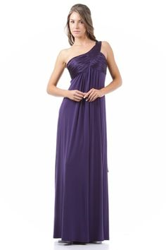 are you annoyed in choosing a dress for you have been pregnant, this one shoulder purple dress is a good choice for you.