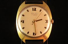Vintage gold plated Poljot mens watch very rare drilled lugs soviet watch ussr cccp