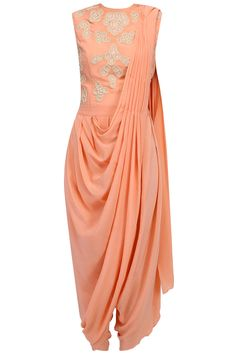 Amrita KM presents Peach draped dhoti saree with peach thread embroidered bodysuit available only at Pernia's Pop Up Shop. Pakistani Dresses, Indian Dresses, Indian Outfits, Dhoti Saree, Saree Dress, Simple Dresses, Casual Dresses, Fashion Dresses, Indian Designer Outfits