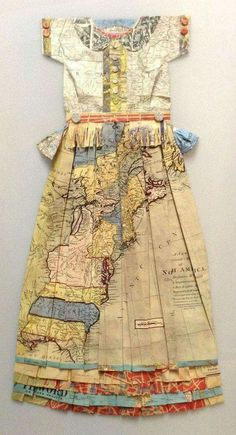 this strongly links to the project of journeys as it contains maps. this reminds me of a map you would need if you were travelling on the seas. Rubans et Elastiques, by Elisabeth Lecourt at London Art Fair Paper Fashion, Fashion Art, Fashion Design, Design Textile, Art Design, Elisabeth, Recycled Fashion, Fashion Moda, Recycled Art