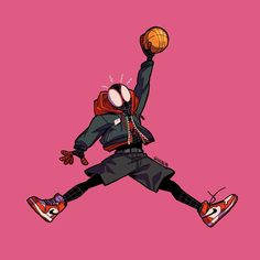 """""""Spider-Jump-Man 🕷👟 Decided to combine the Jumpman logo with Miles since he's wearing Air Jordan 😁 Jordan Logo Wallpaper, Hype Wallpaper, Marvel Wallpaper, Cartoon Wallpaper, Dope Cartoon Art, Dope Cartoons, Spiderman Kunst, Canvas Art Projects, Jumpman Logo"""