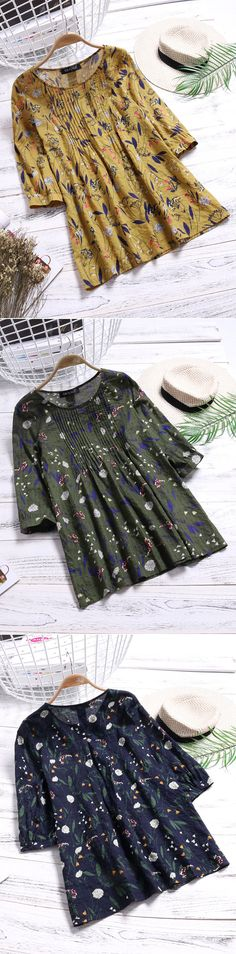 [Newchic Online Shopping] 50%OFF Women's Vintage Blouses   Women's 3/4 Sleeve Blouses   Women's Floral Printed Blouses