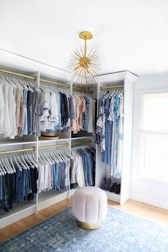 I have to say, it was a long awaited dream of mine to have a roomy clothing storage space to call my own. The inception of this walk-in closet began the second my youngest son moved out to be on hi… Master Closet Design, Walk In Closet Design, Master Bedroom Closet, Closet Designs, Small Walk In Closet Ideas, Diy Closet Ideas, Diy Walk In Closet, Small Master Closet, Walking Closet