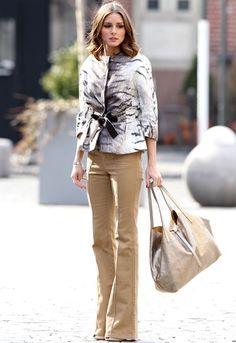 Olivia Palermo wearing a Giambattista Valli tiger print jacket