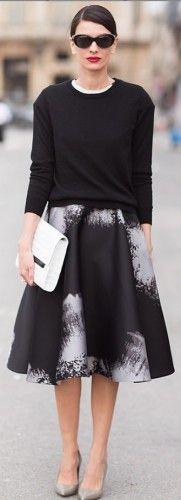 black sweater and midi skirt