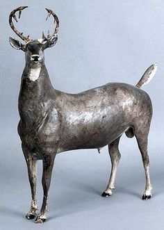 """Pennsylvania carved and painted stag figure by John Reber, late 19th/early 20th c., 15 1/2"""" h."""