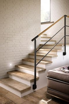 Tile flooring takes a stand in high traffic areas Stairs Makeover areas FLOORING High Stand takes Tile traffic Stair Railing Design, Staircase Railings, Wood Stairs, House Stairs, Basement Stairs, Wood Handrail, Bannister, Interior Stairs, Home Interior Design
