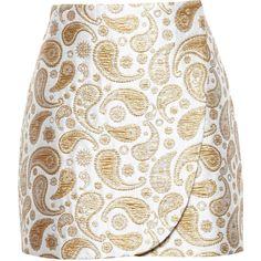 Stella Mccartney Jacquard Mini Skirt ($315) ❤ liked on Polyvore featuring skirts, mini skirts, faldas, saia, short skirts, cream skirt, embellished mini skirt, paisley skirt and white mini skirt