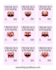 "I ""Mustache"" You to be My Valentine - Free Printable Valentines"