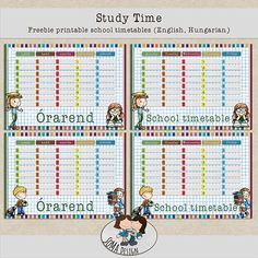 SoMa Design: Study Time - Freebie Printable School Timetables School Timetable, Study, Printables, Scrapbook, Map, Design, School Schedule, Studio
