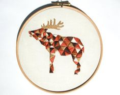Wolf Embroidery Pattern for Geometric Animal by ThreeSilverTrees