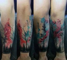 Watercolor Blue And Red Forest Mens Wrist Tattoos