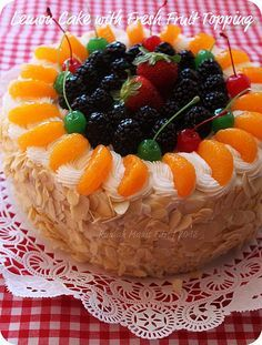 Lemon Cake with Fresh Fruits Topping