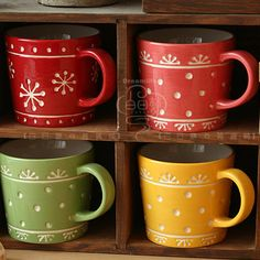 $3.43 The Polka Dot florets four-color coffee mugs readily cup cups foreign trade ceramic-ZZKKO