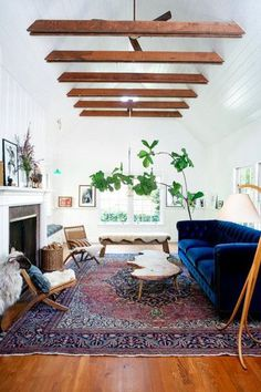 Cool Down Your Design With Blue Velvet Furniture. Eclectic Living Room With Blue Velvet Sofa. Lighting Up a Living Room Can Be Fun. Living Room Lighting Visit the image link for more details. Boho Living Room, Living Spaces, Bohemian Living, Cozy Living, Bohemian Style, Bohemian Decor, Small Living, Modern Bohemian, Boho Chic